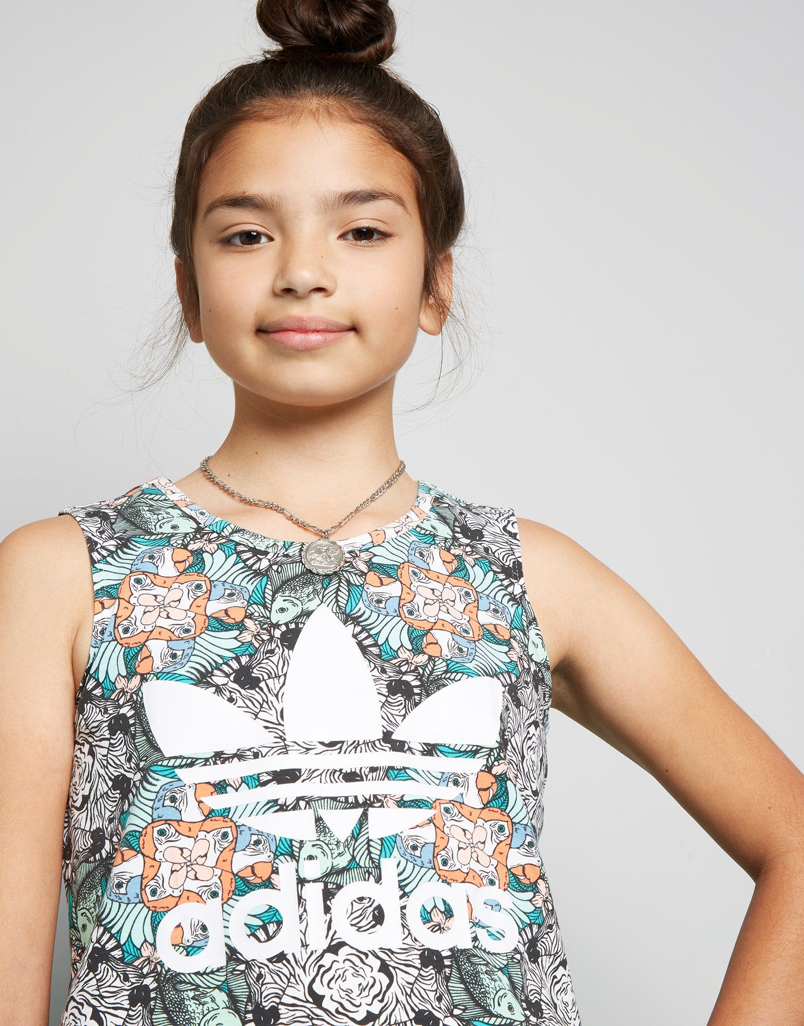 adidas Originals Girls' Zoo All Over Print Tank Top Junior