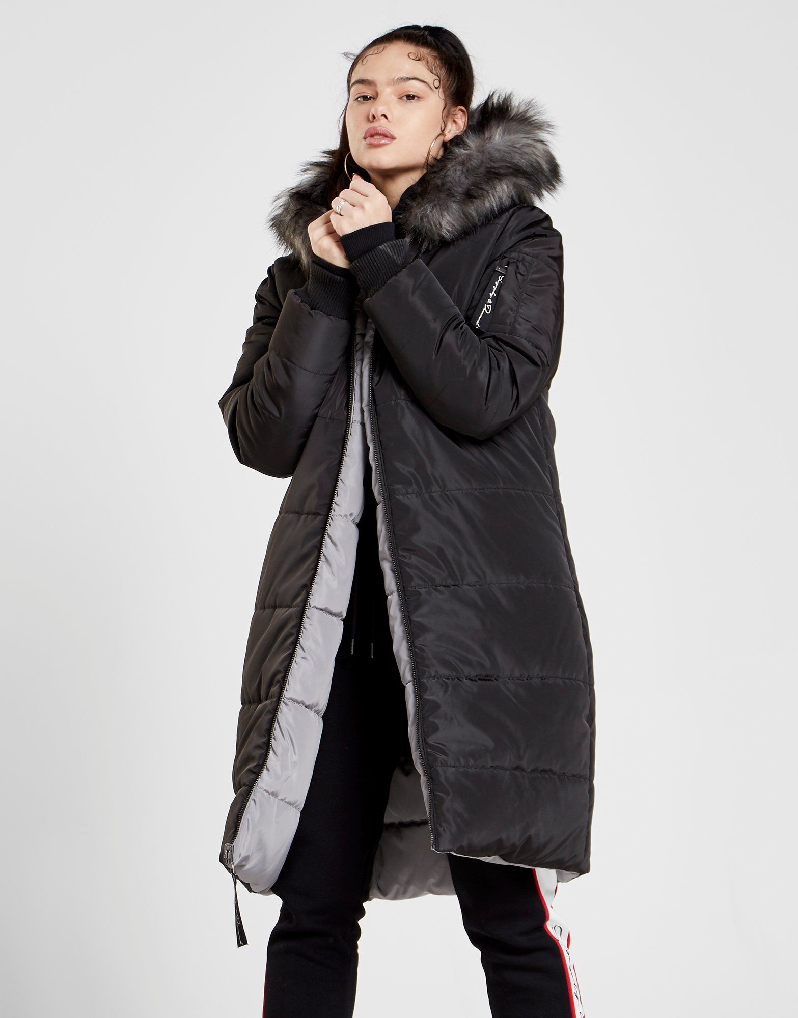 Supply & Demand Fur Reversible Longline Parka Jacket
