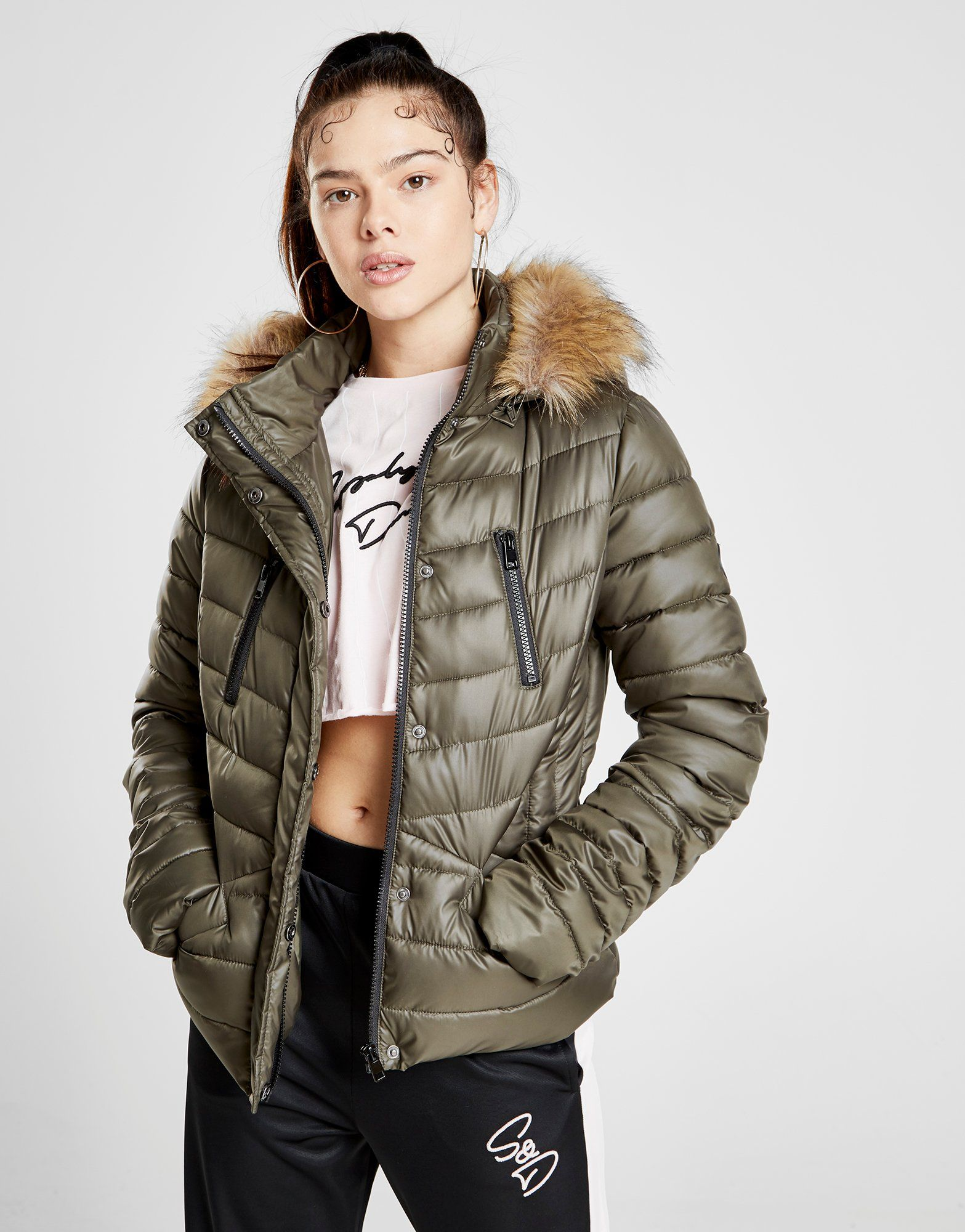 Supply & Demand Fur Hooded Padded Jacket