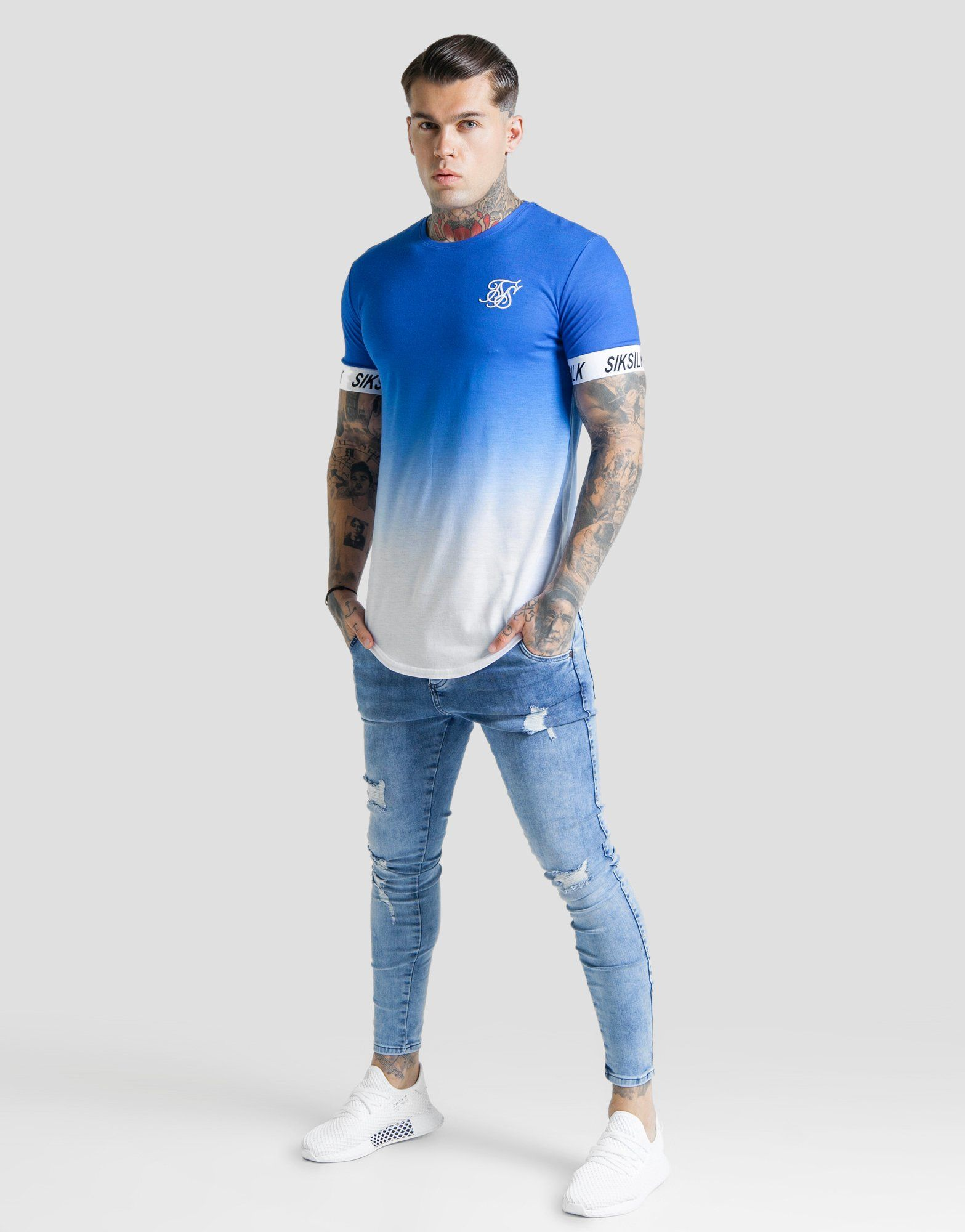 SikSilk Tape Sleeve Fade T-Shirt