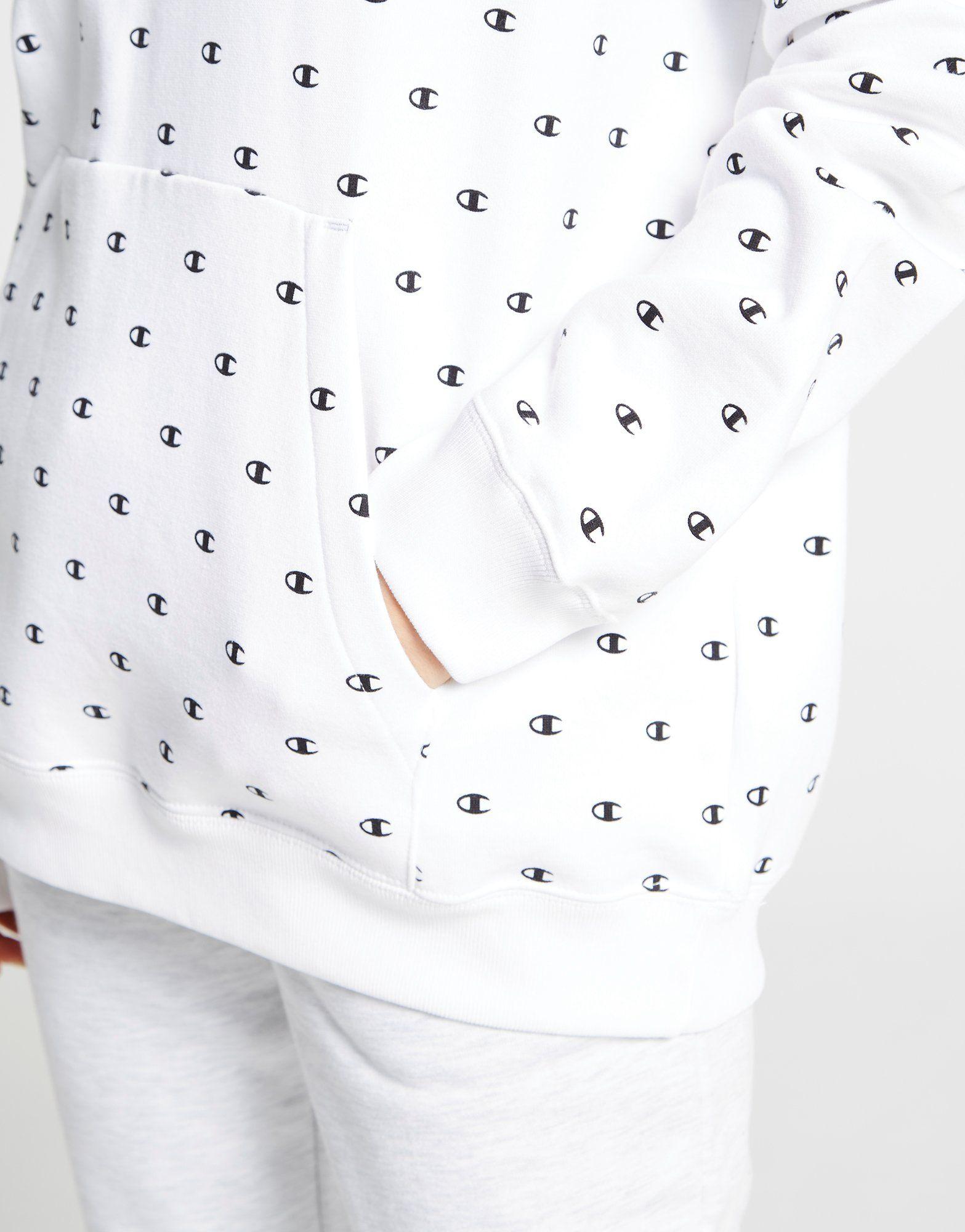 Champion All Over Print Logo Boyfriend Hoodie