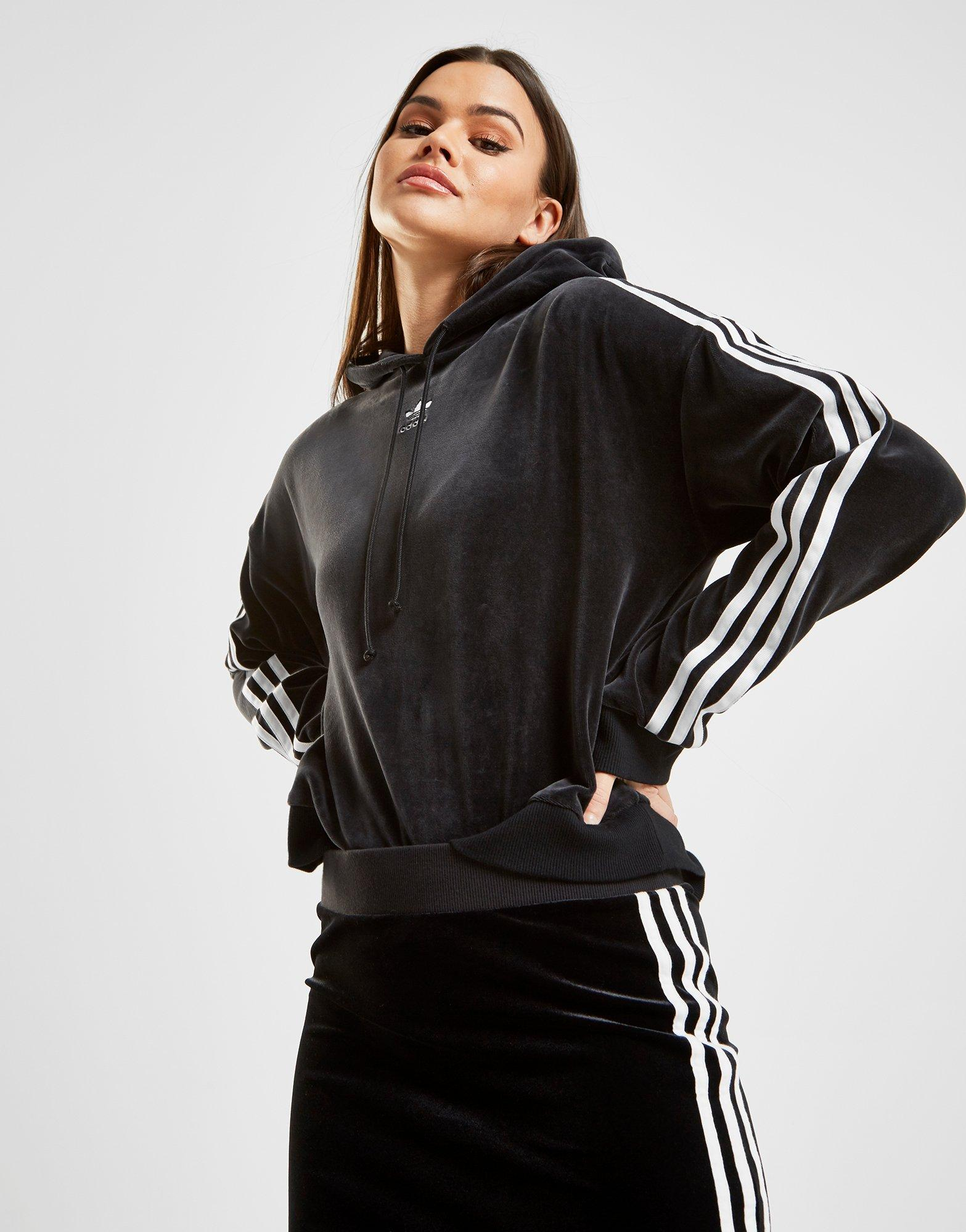 Overhead Originals Crop Stripes About 3 Hoodie Adidas Women's Details Black New Velvet T1FlcKJ