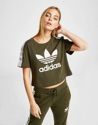 adidas originals tape crop t shirt