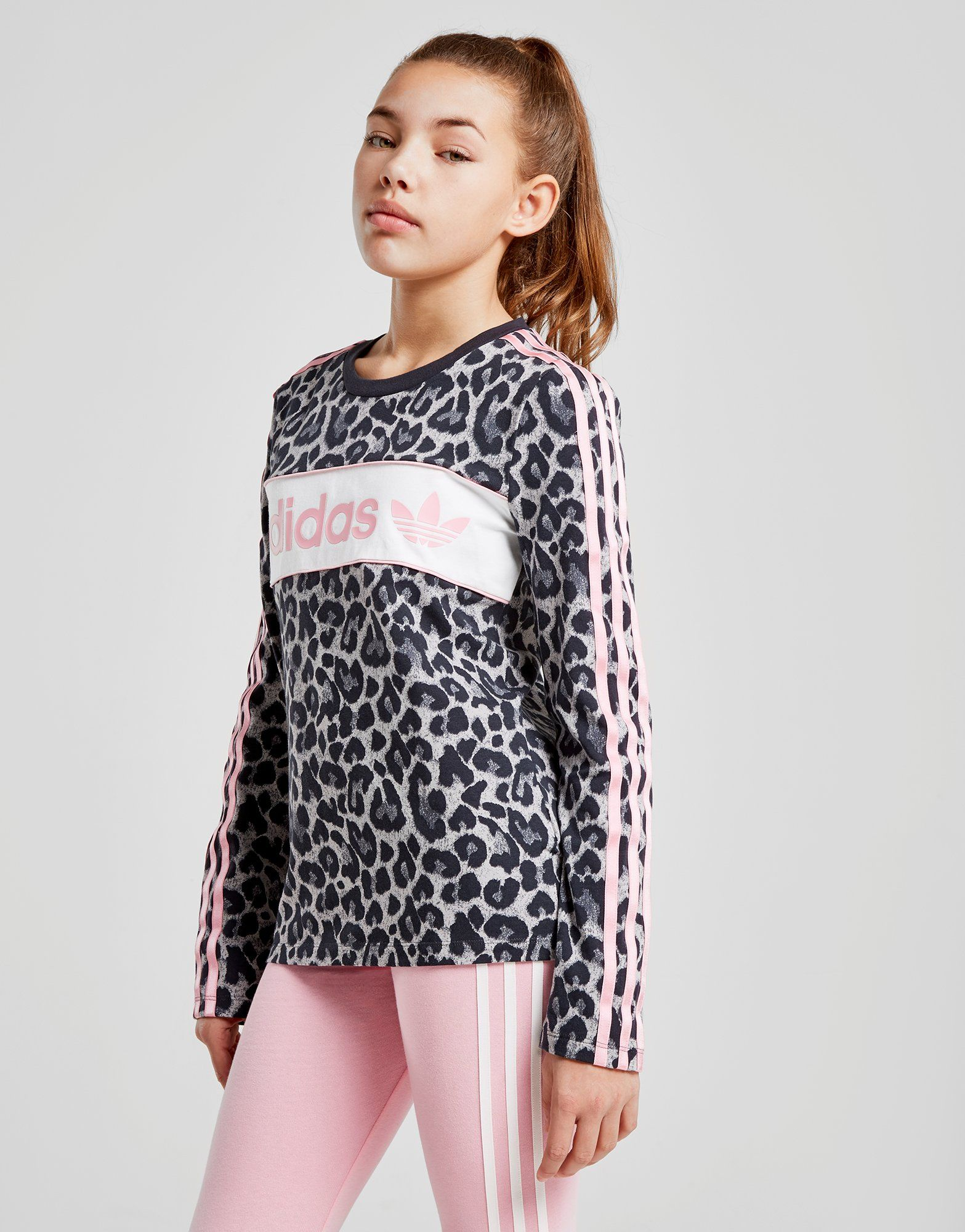 adidas Originals T-shirt à manches longues Girls' Leopard Junior