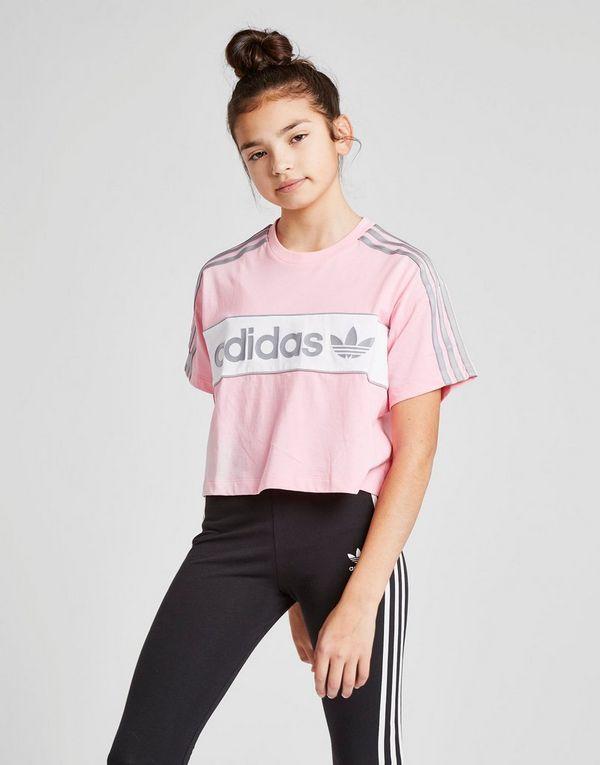 80014cfa19089a adidas Originals Girls  Crop Linear T-Shirt Junior