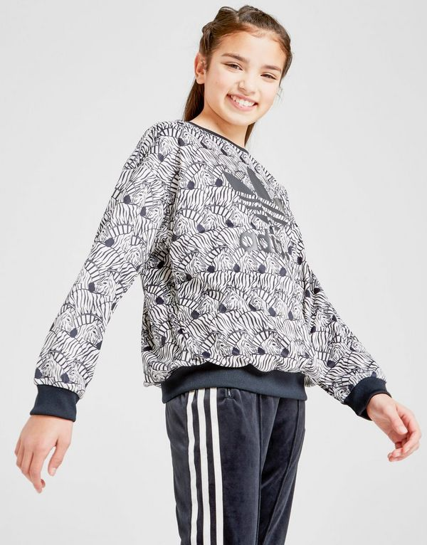 Zebra Girls' Sports Jd Adidas Crew Originals Junior Sweat BqEqwxat