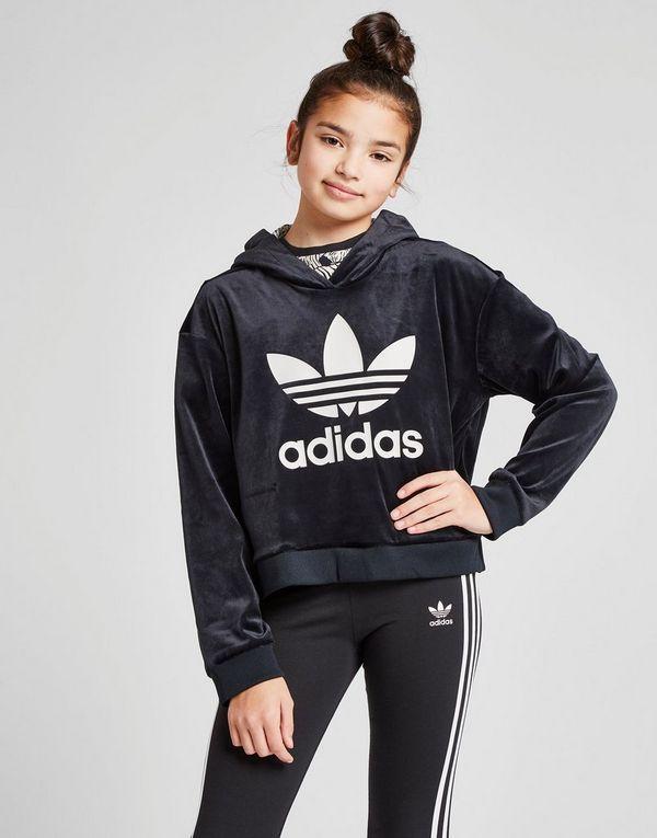 adidas Originals Sweat à capuche Girls  Trefoil Crop Velour Junior ... c9b0f063e053