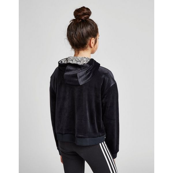 da72966330c ... adidas Originals Girls  Trefoil Crop Velour Hoodie Junior ...