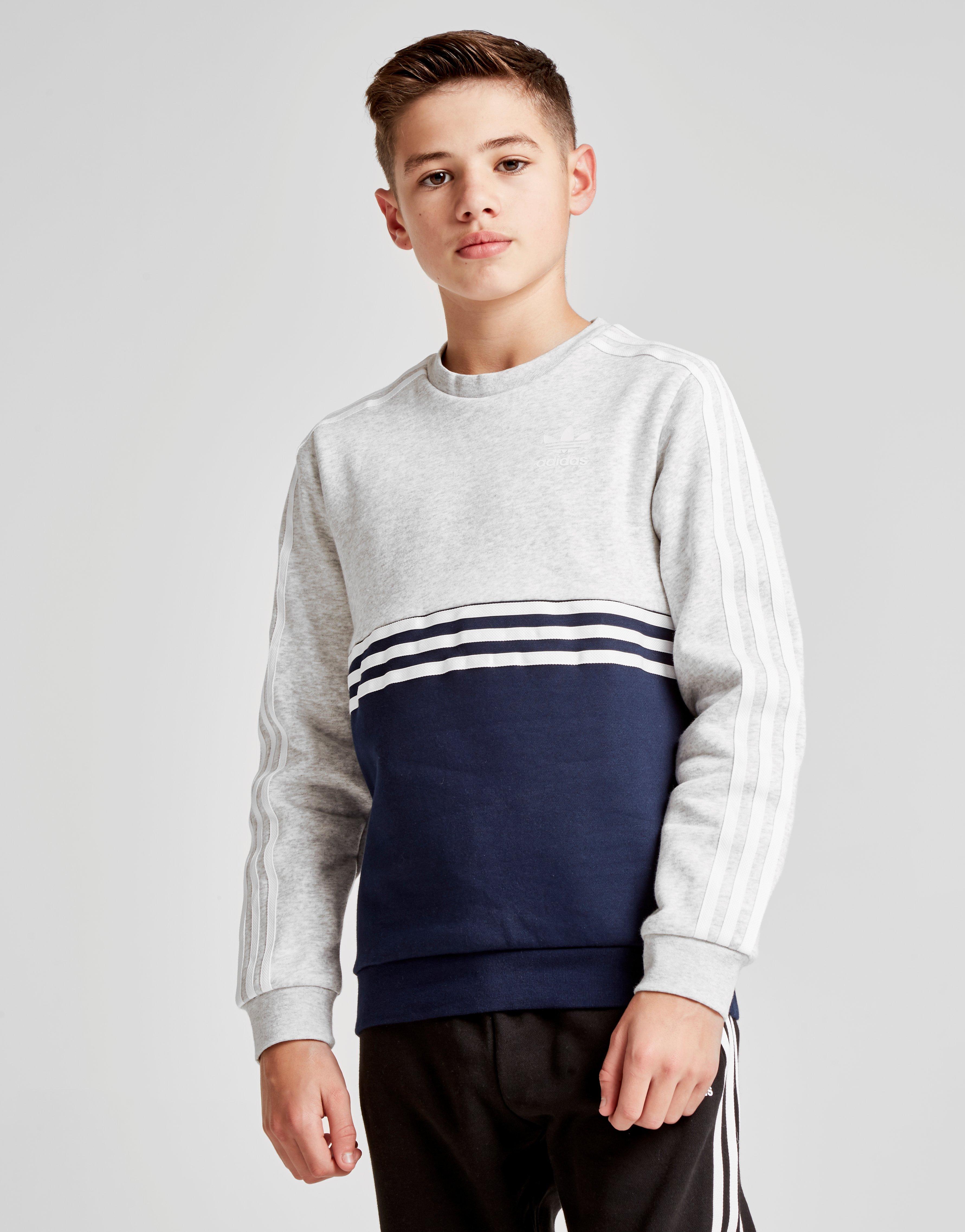 look good shoes sale new design buy good Details about New adidas Originals Boy's Authentic Colour Block Crew  Sweatshirt Grey