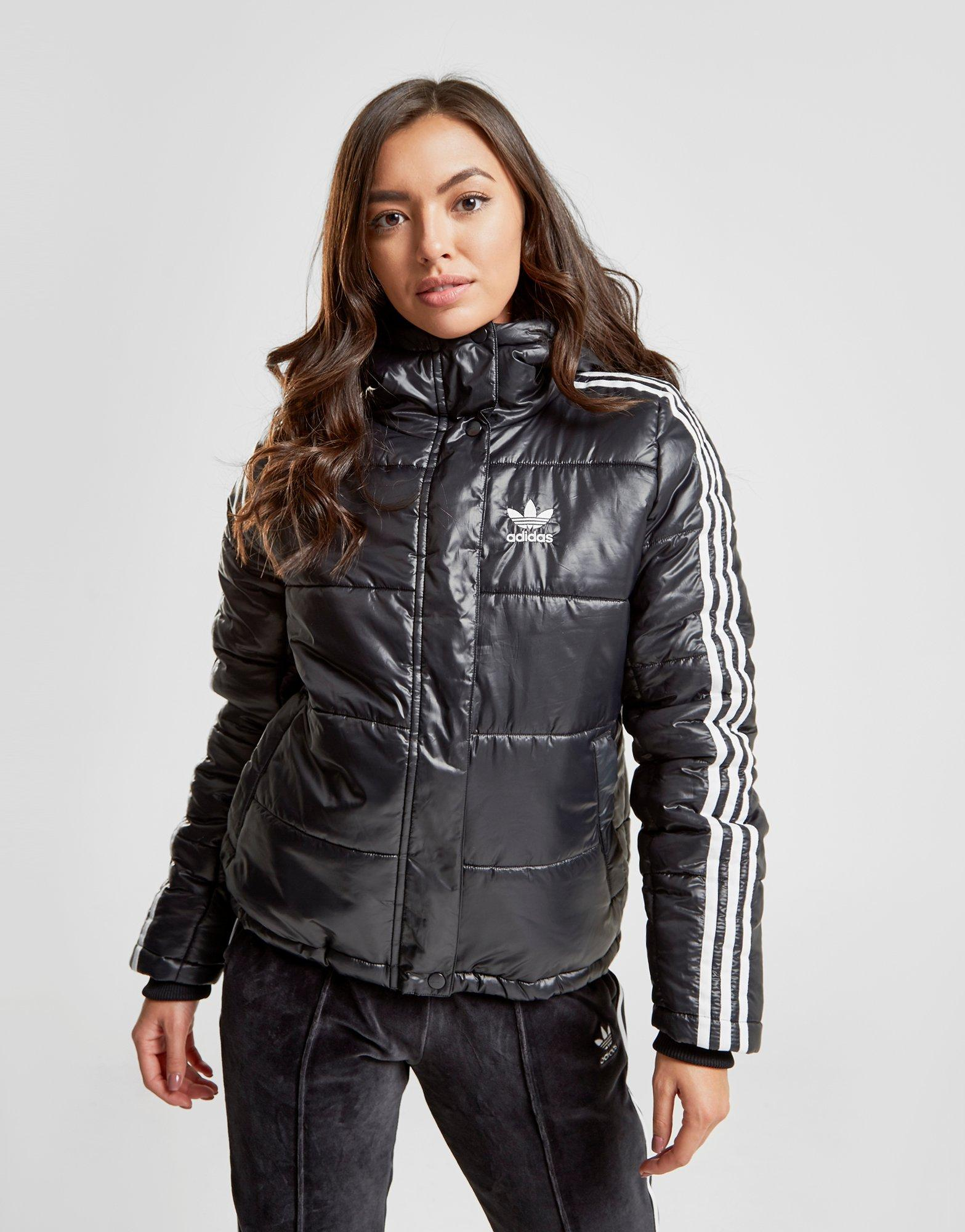 Details about New adidas Originals Women's 3 Stripes Oversized Padded Jacket Black
