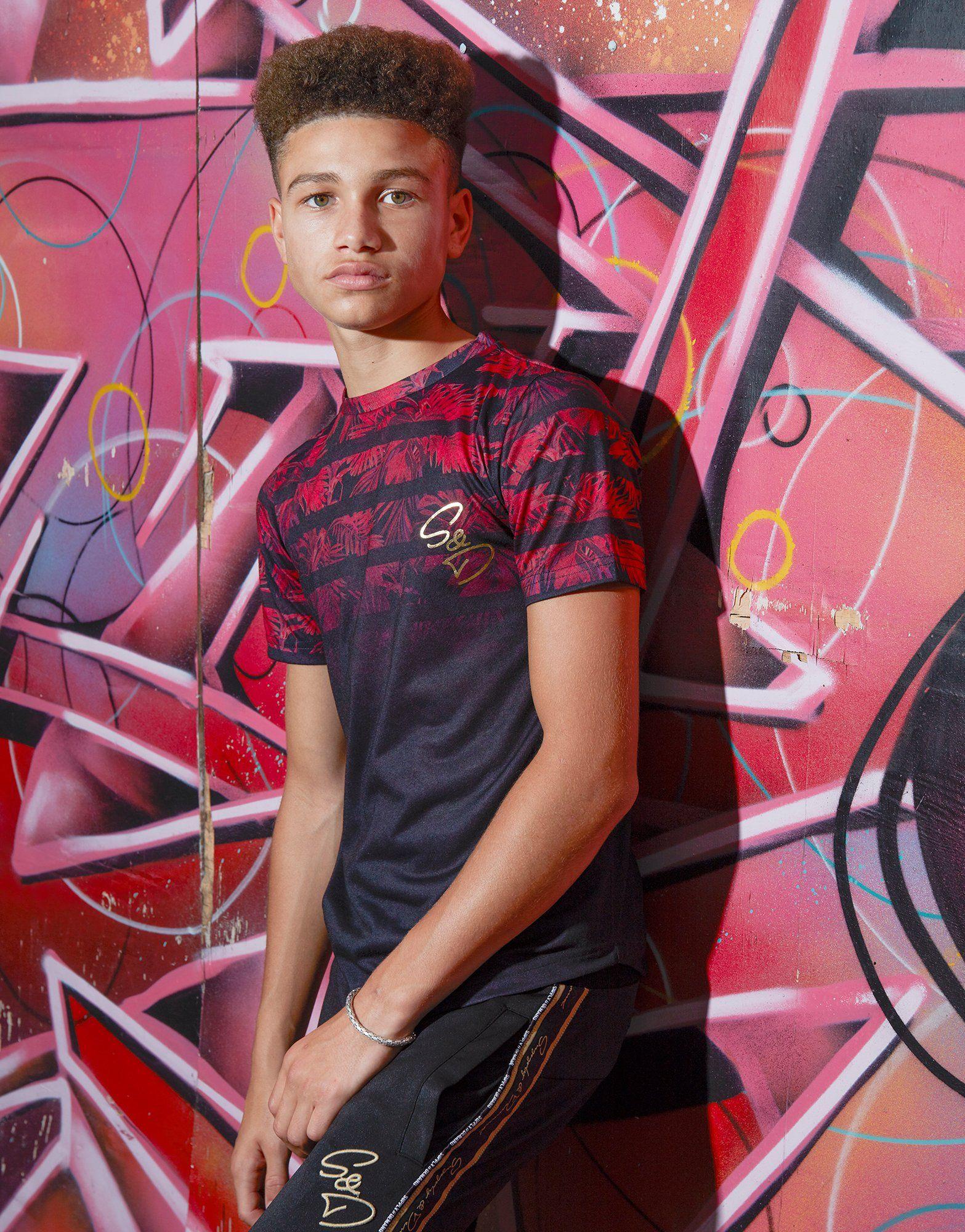 Supply & Demand Stripe Palm T-Shirt Junior