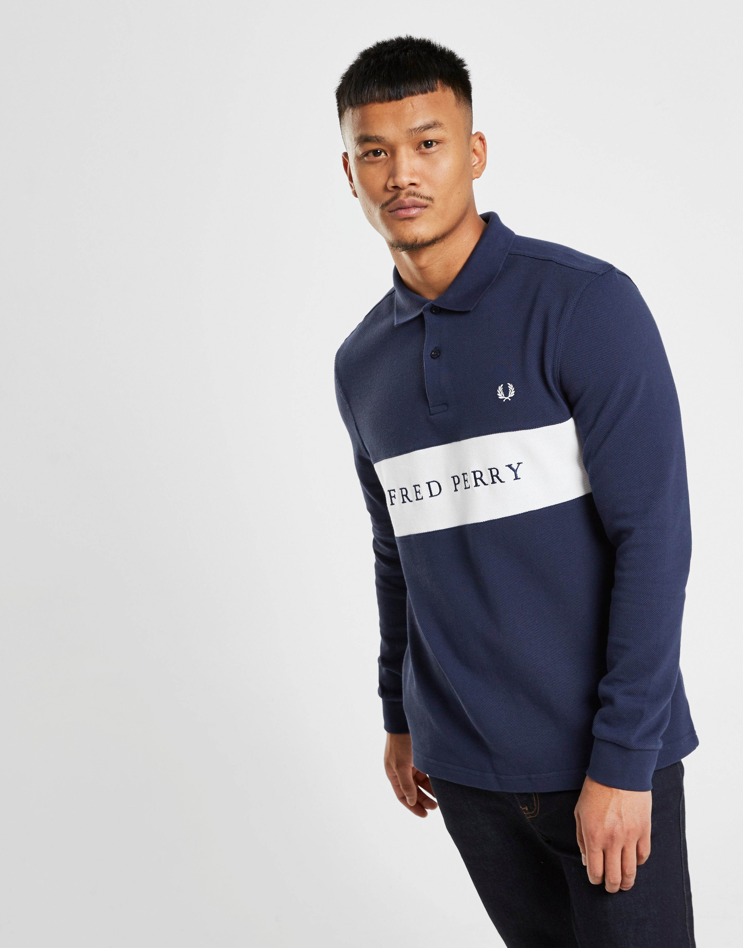 Fred Perry Long Sleeve Panel Polo Shirt Jd Sports