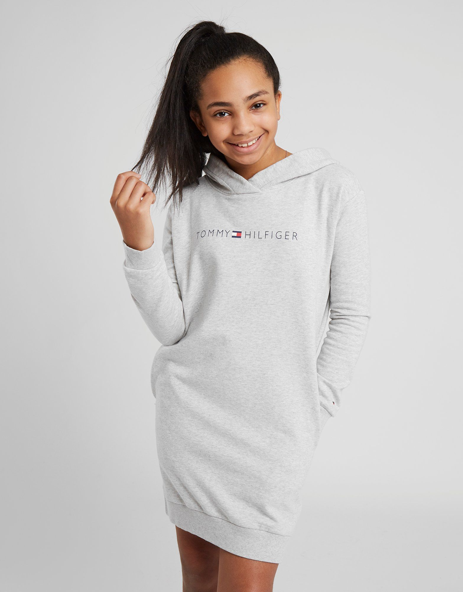 93bd3ca8f7587 Tommy Hilfiger Girls  Essential Logo Hoodie Dress Junior