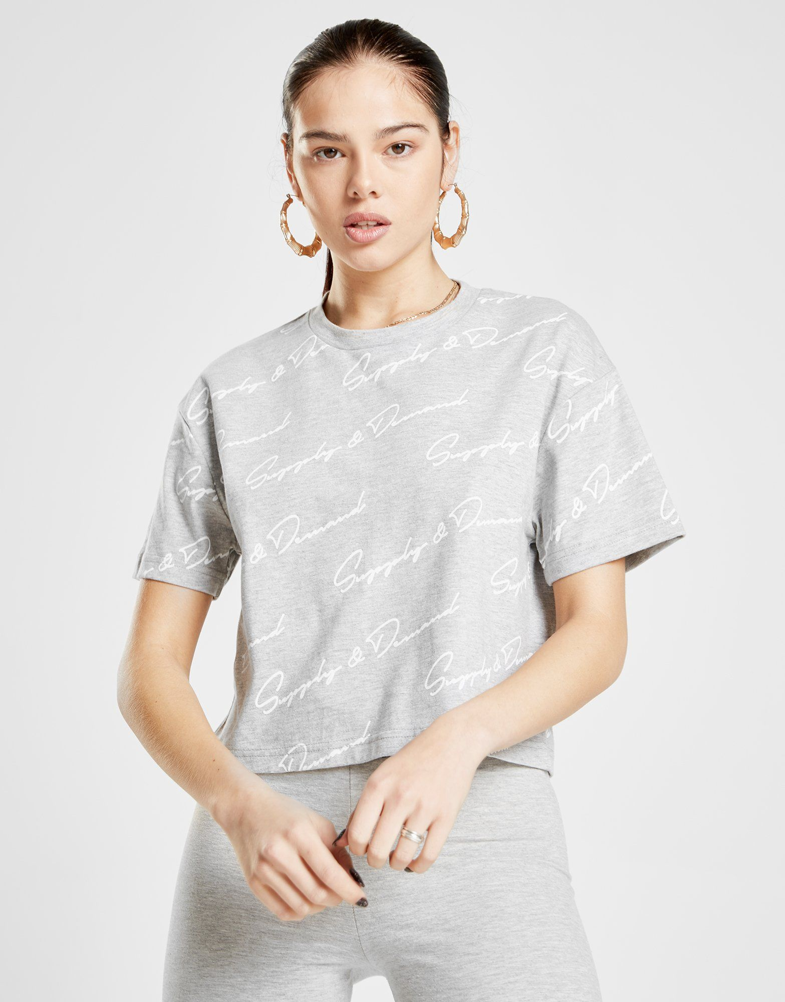 Supply & Demand Script Print Crop T-Shirt