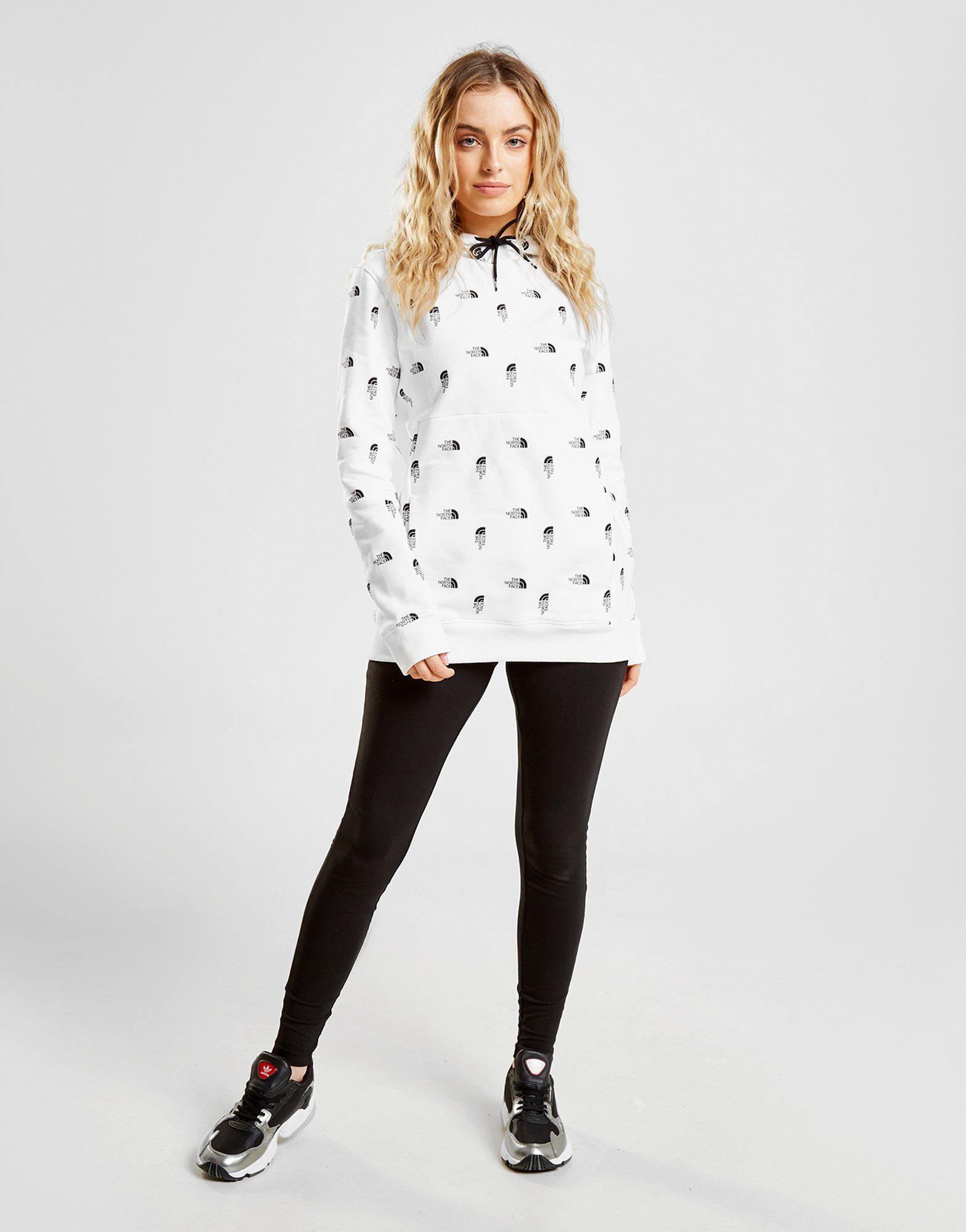 The North Face All Over Print Logo Boyfriend Hoodie