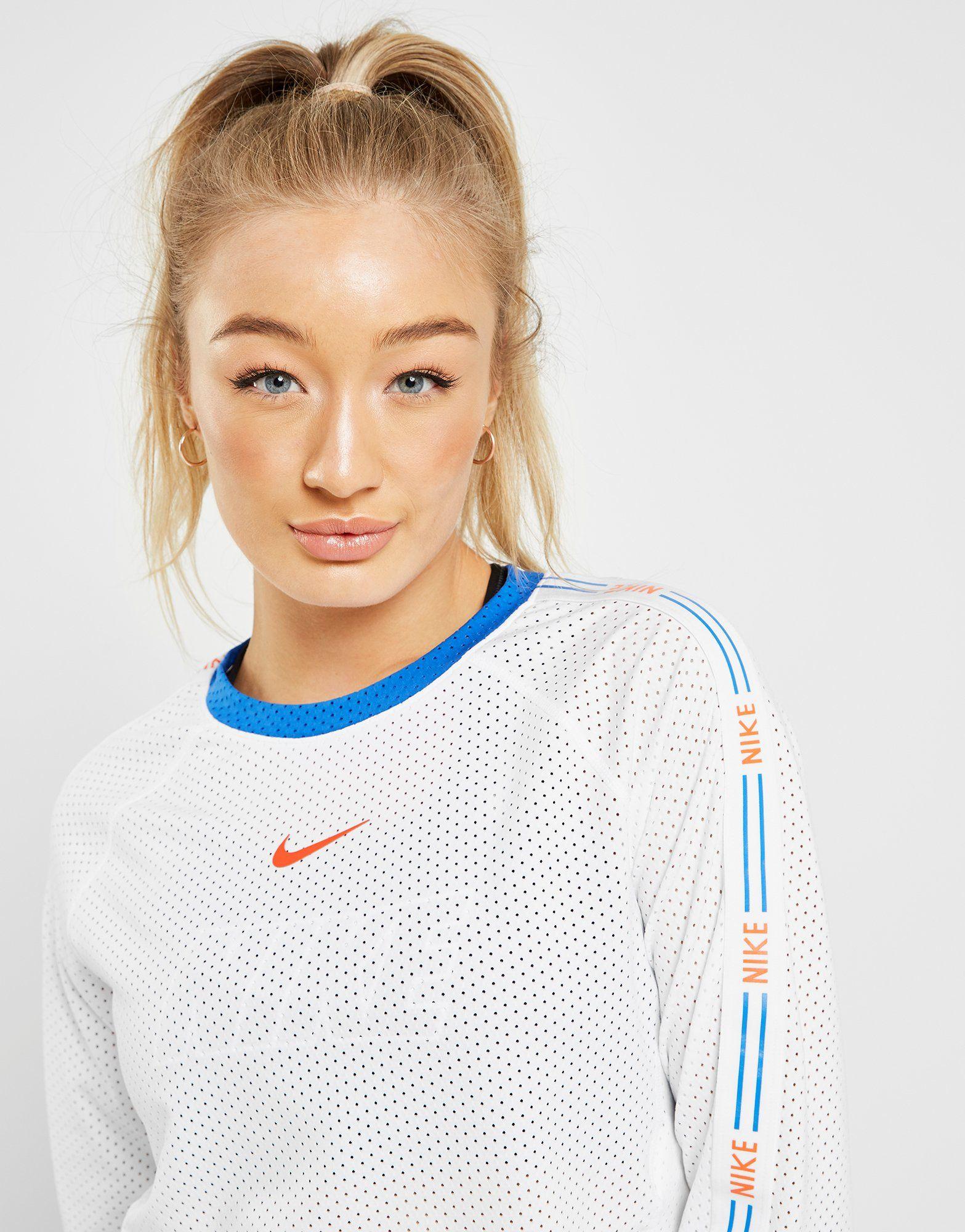 Nike Tape Long Sleeve Mesh Crop T-Shirt