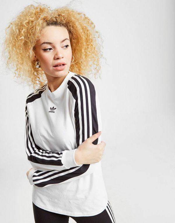 adidas Originals 3-Stripes Panel Long Sleeve T-Shirt Dames ...