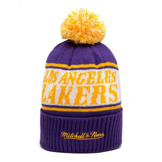 Mitchell & Ness NBA Los Angeles Lakers Wordmark Bobble Hat
