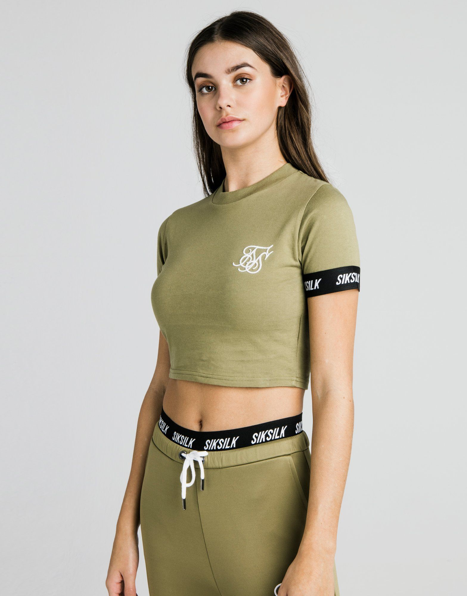 SikSilk Cropped Tape Sleeve T-Shirt