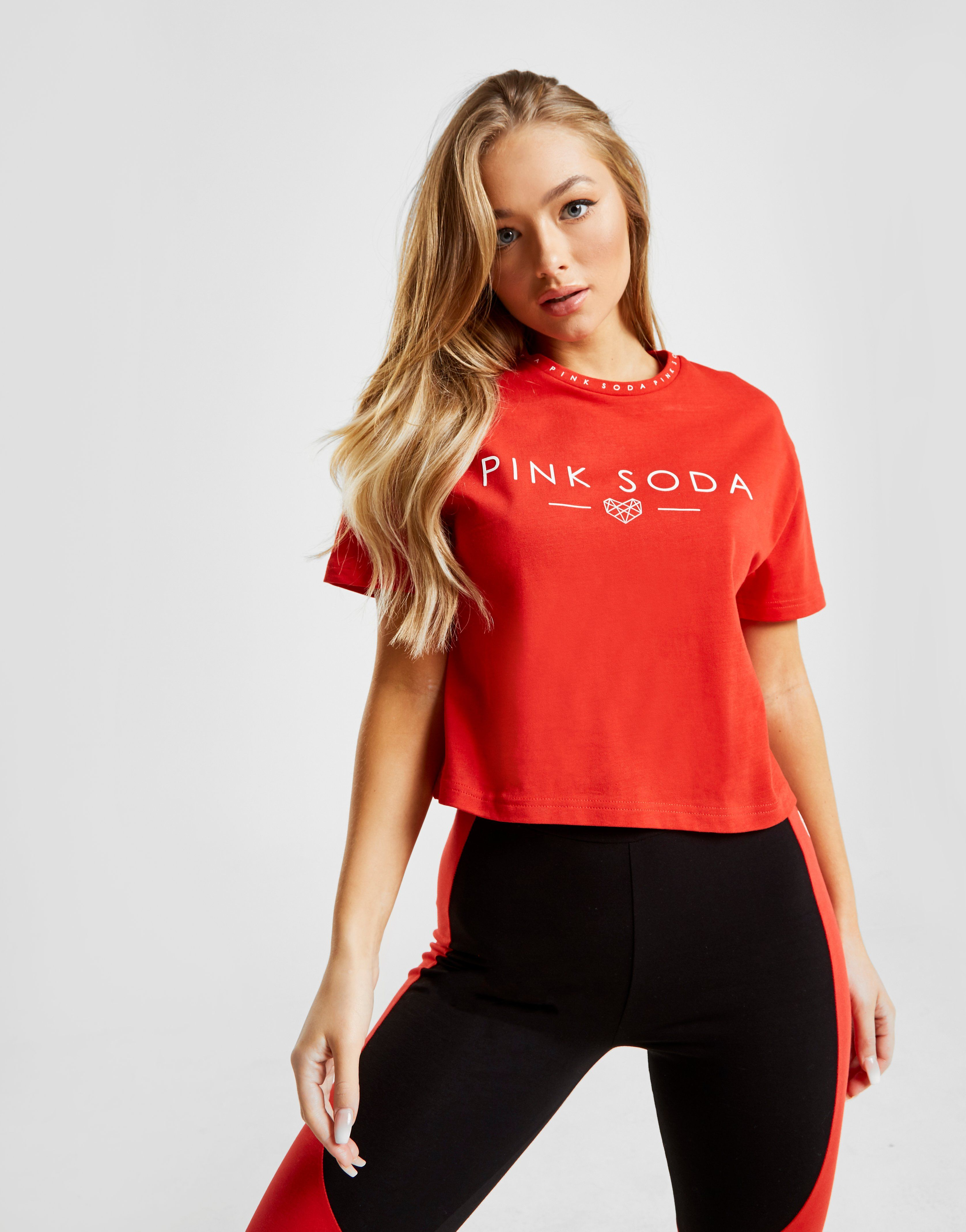 Pink Soda Sport Zuma Tape Crop T-Shirt