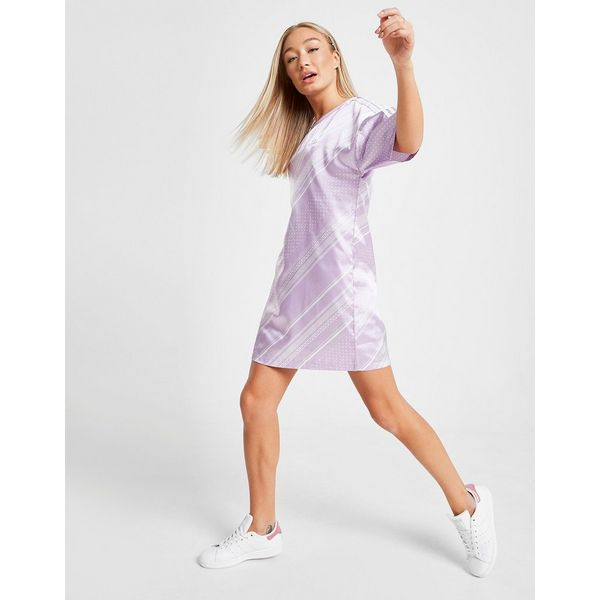 adidas Originals All Over Print Satin T-Shirt Dress Dames