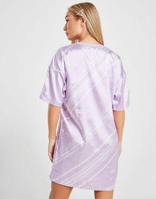 adidas Originals All Over Print Satin T-Shirt Dress Dames