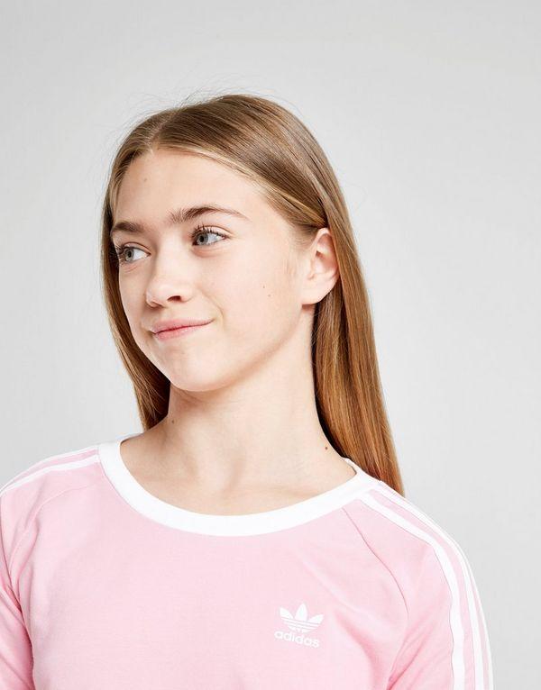 adidas originals t-shirt manches longues rose 3 bandes