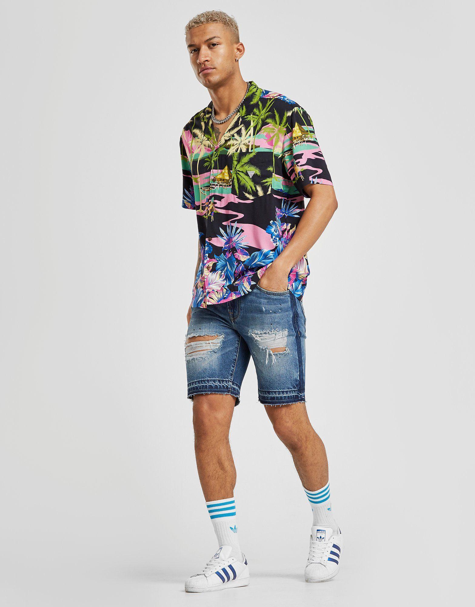 Guess Ripped Denim Shorts