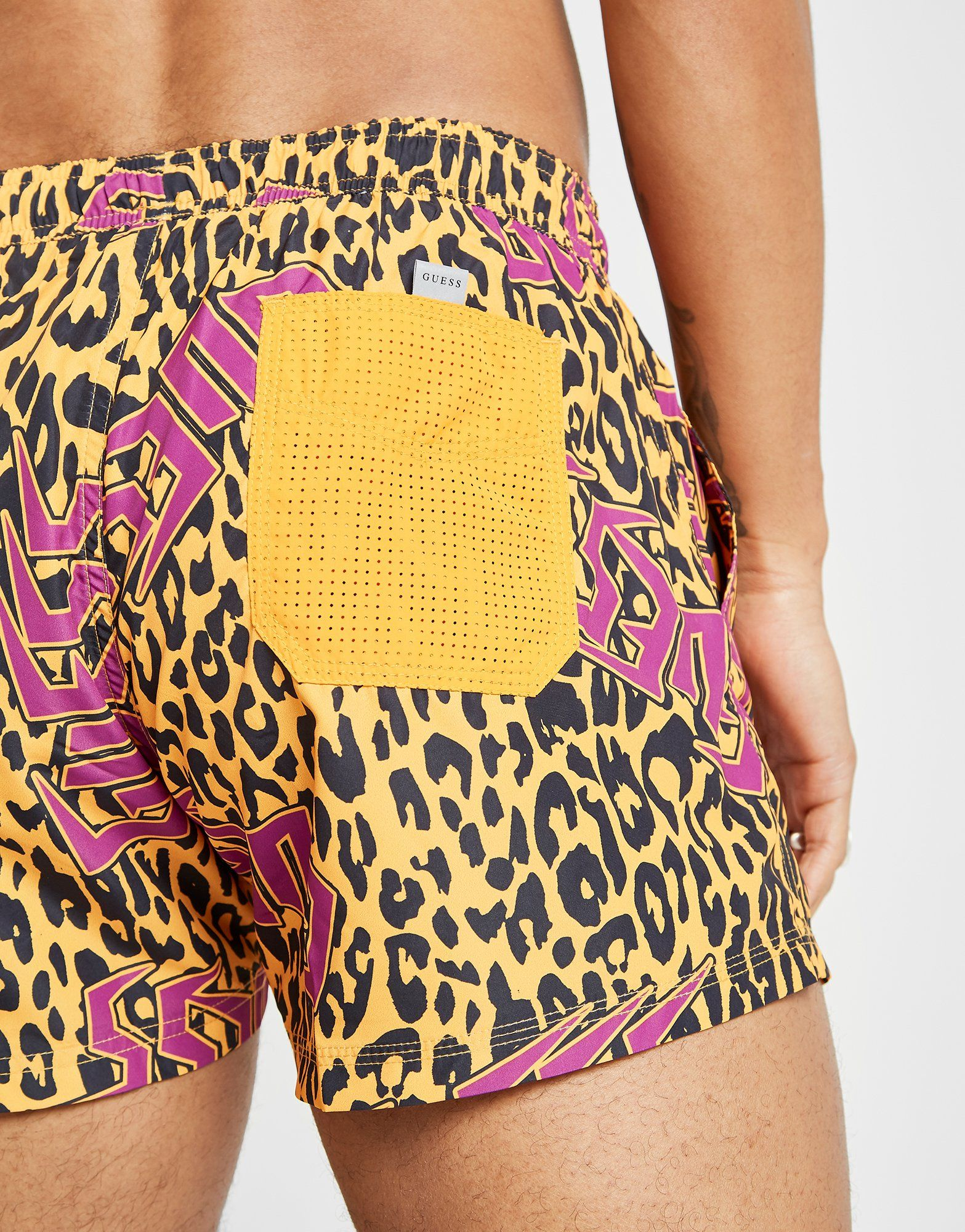 GUESS Leopard All Over Print Swim Shorts