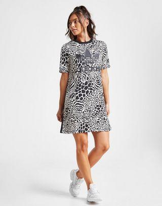 adidas Originals All Over Print Leopard T-Shirt Dress Dames