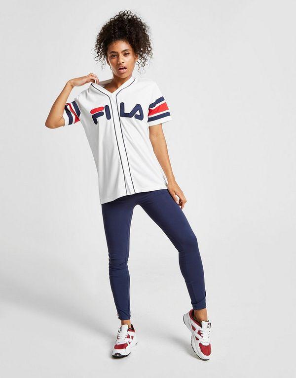 FemmeJd Sports Fila T Shirt Stripe Baseball XZiOPku