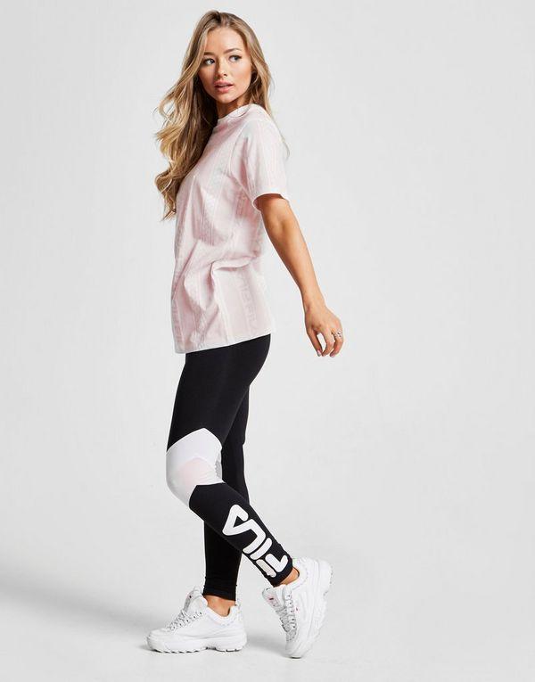 Fila All Over Print Stripe T-Shirt Dames