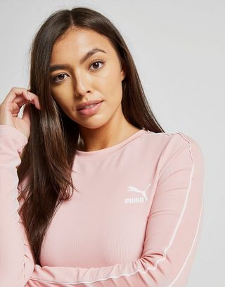 PUMA Classic Long Sleeve Ribbed Crop Top