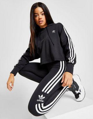 adidas Originals Sweat à capuche 3-Rayures Crop Femme | JD ...