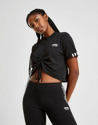 adidas Originals Tape Crop Ruched T-Shirt