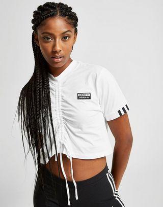 adidas Originals Tape Crop Ruched T-Shirt Damen