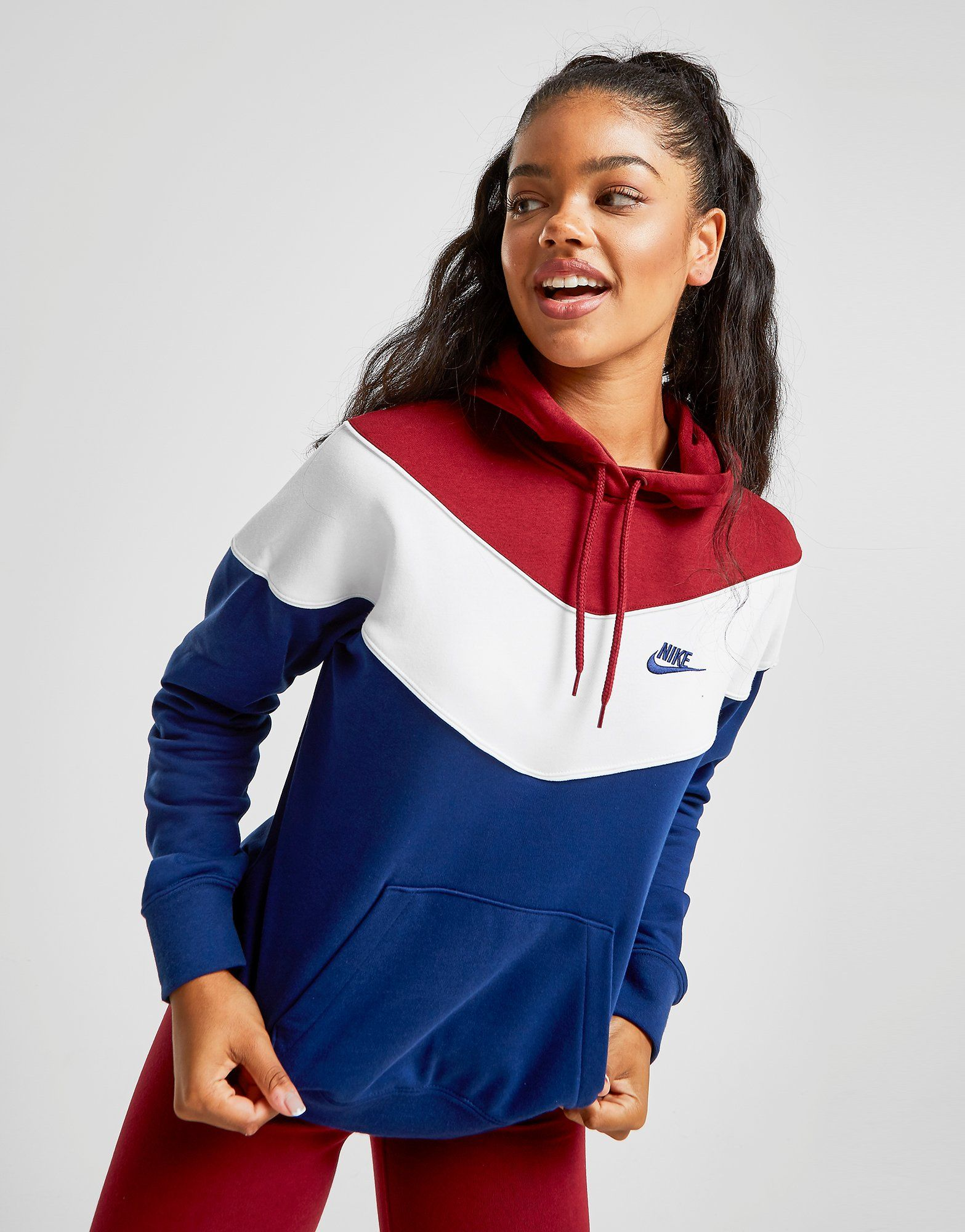 Nike Heritage Colour Block Hoodie Dames | JD Sports