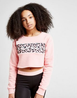 Sonneti Girls' Leopard Crop Crew Sweatshirt Junior