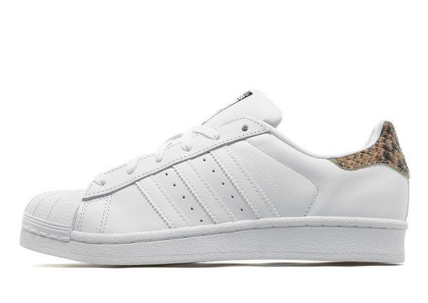 adidas originals white superstar trainers with print detail