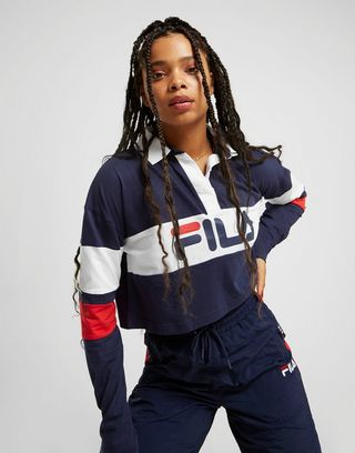 Fila Stripe Crop Rugby T-Shirt