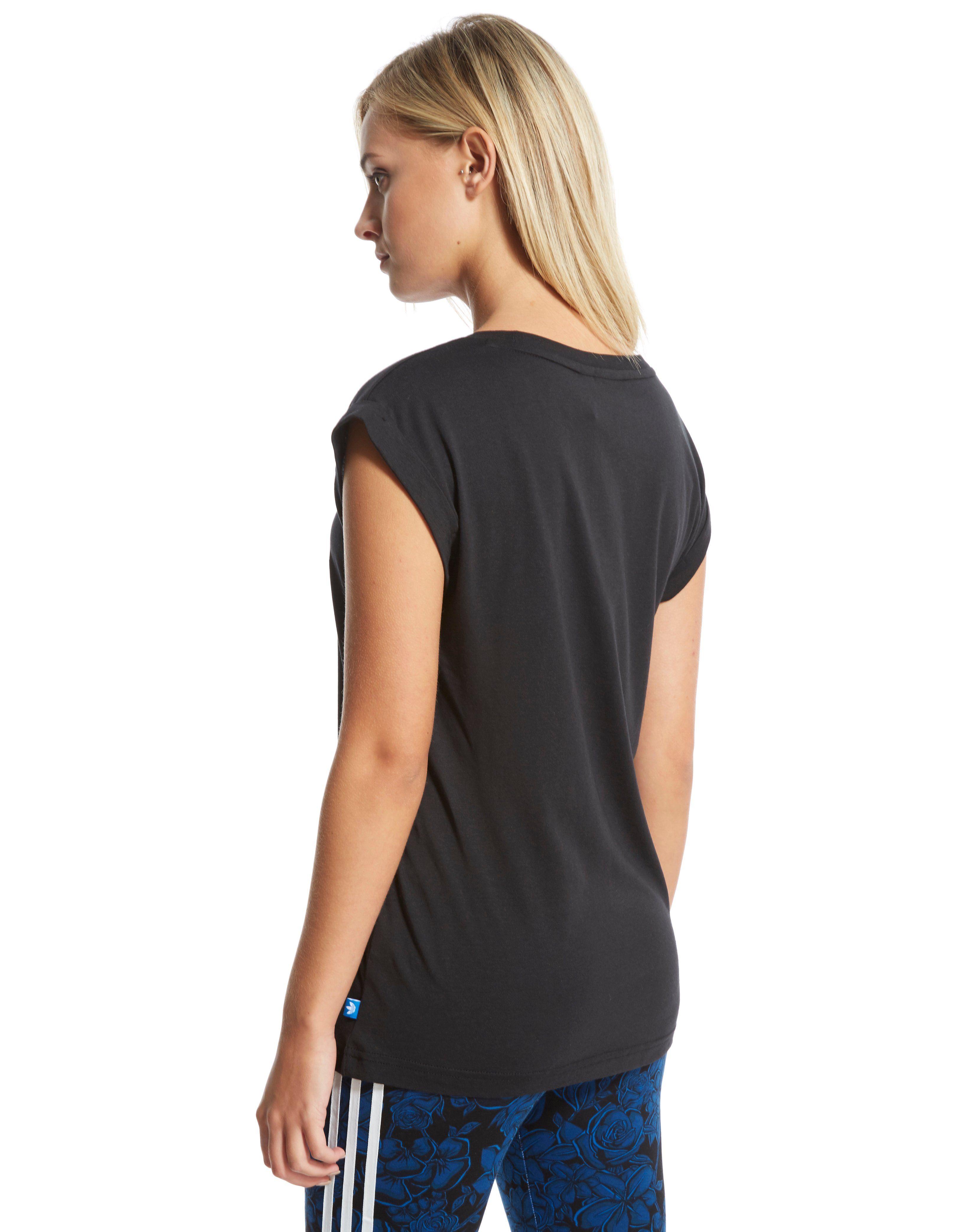 adidas Originals Blue Floral Logo T-Shirt