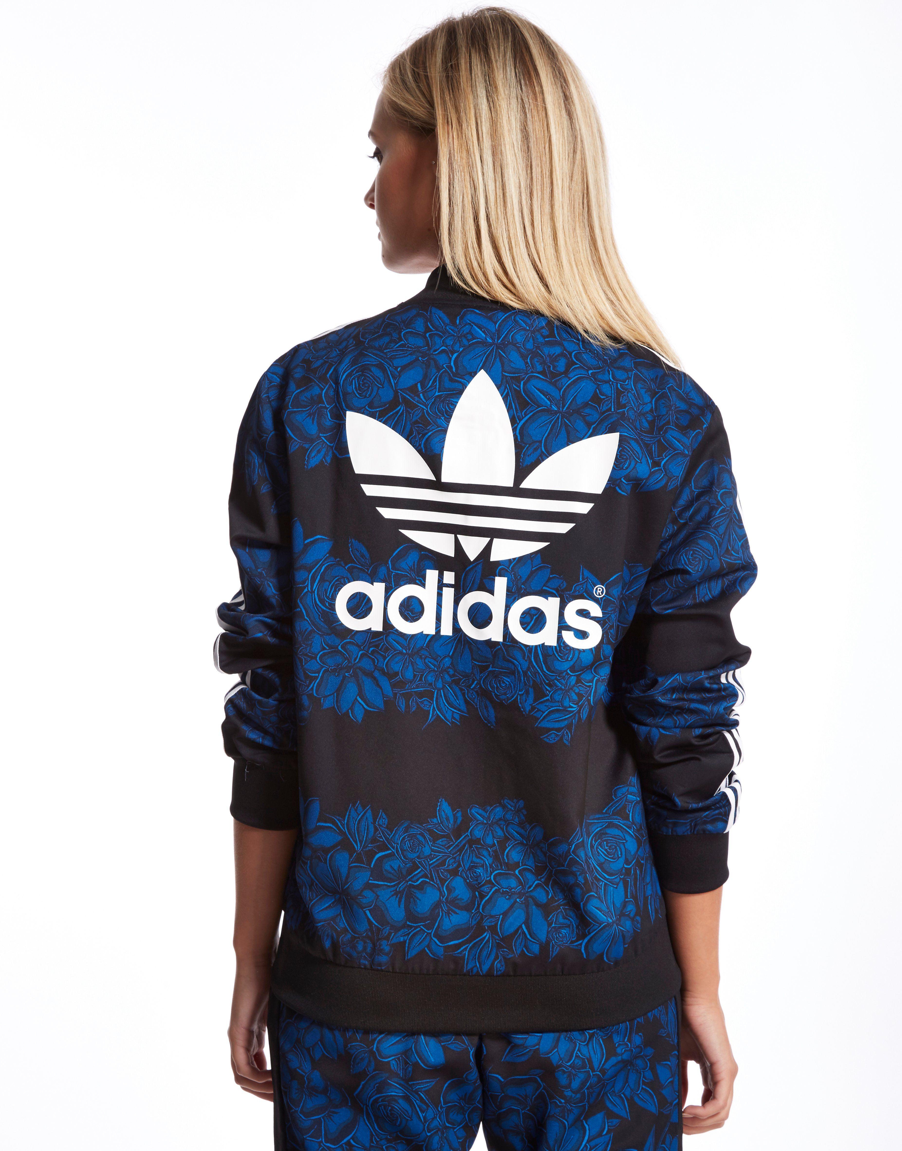 adidas originals blue floral track top