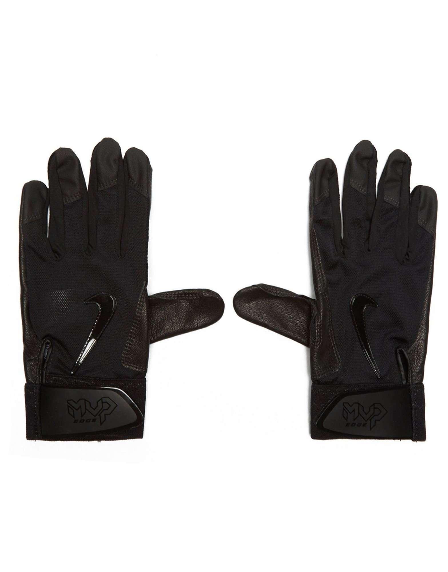 Black leather batting gloves - Black Leather Batting Gloves 15
