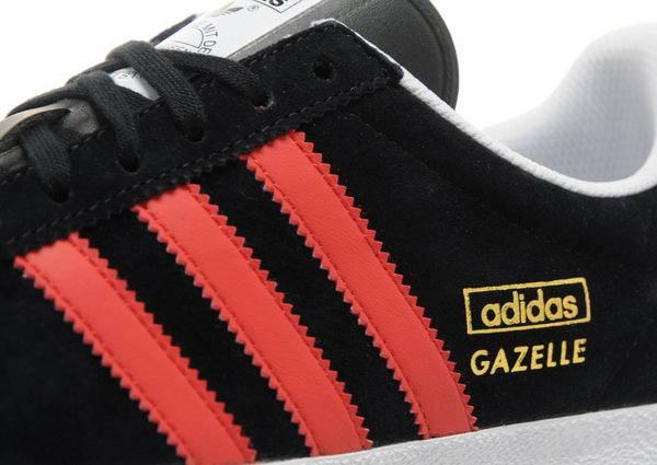 adidas gazelle black red stripes