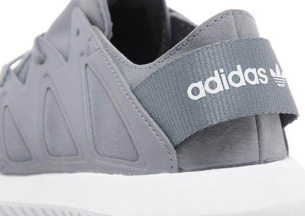 women's adidas light grey tubular viral material trainers
