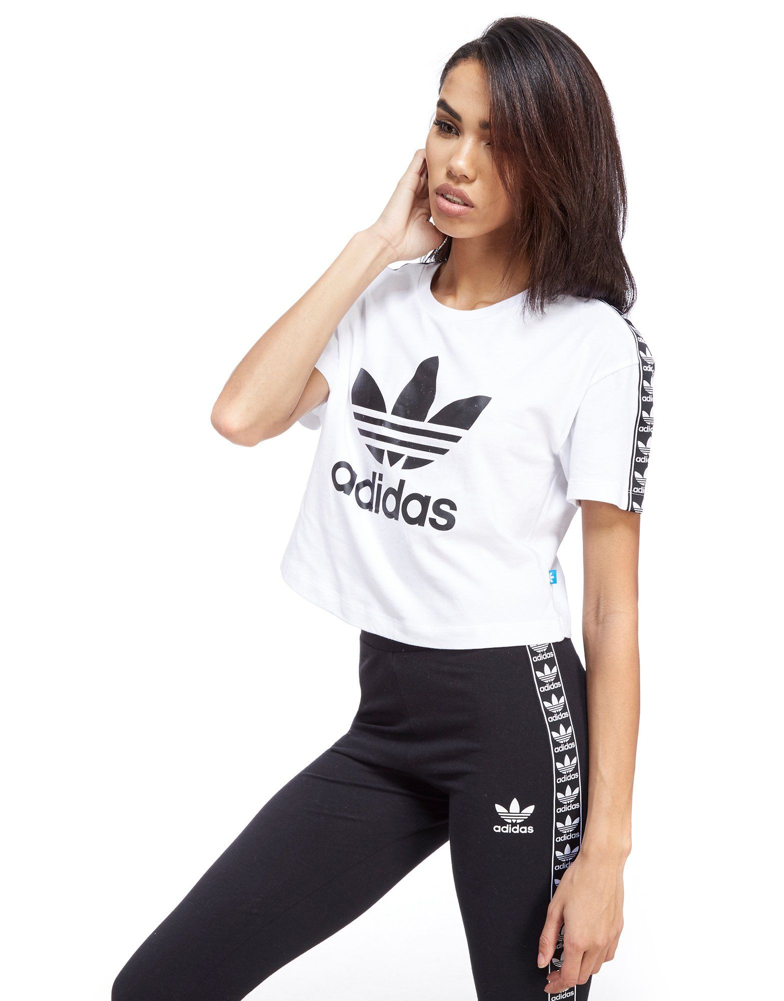 adidas originals tape crop t shirt jd sports. Black Bedroom Furniture Sets. Home Design Ideas