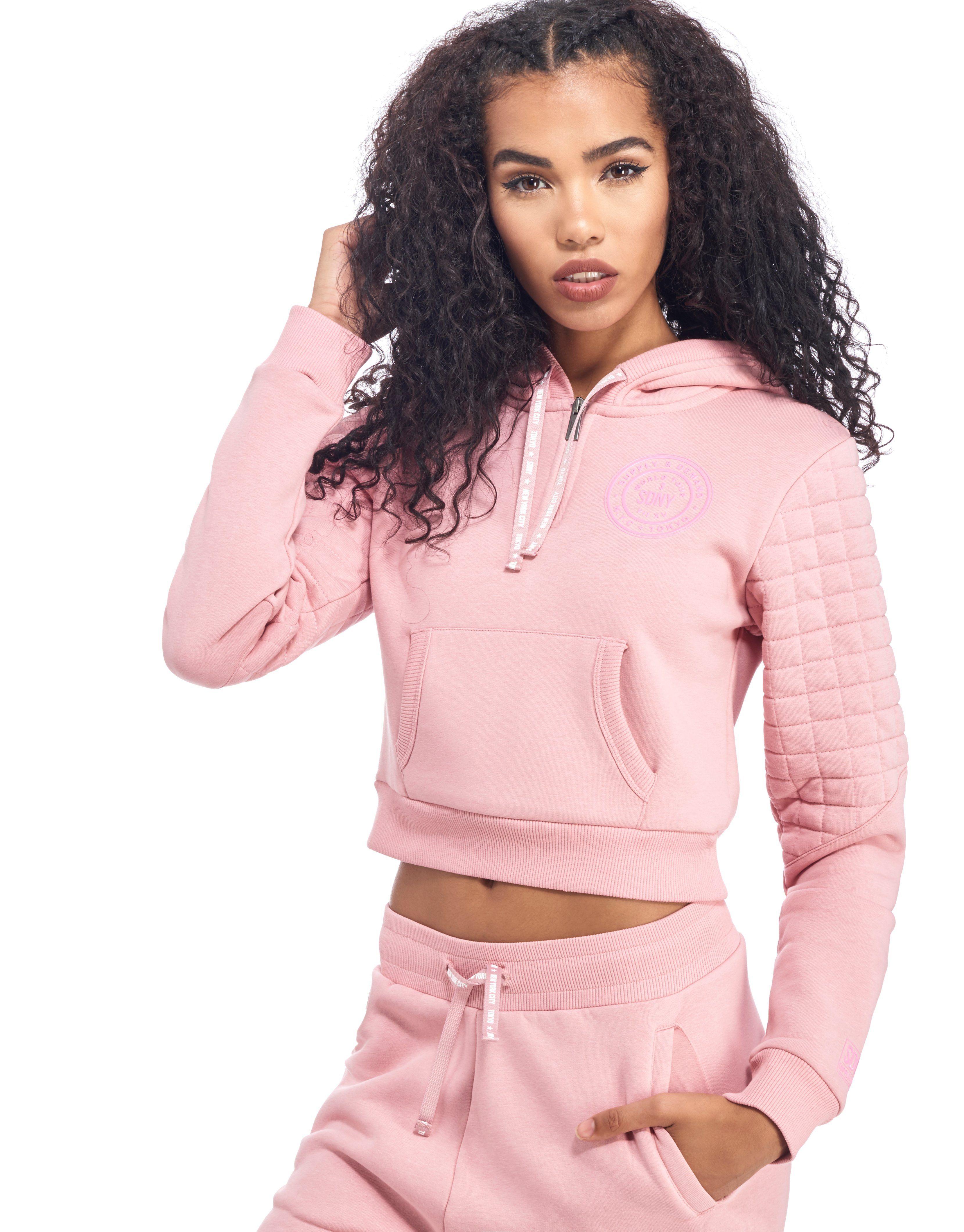 Supply & Demand Pink Crop Quilt Hoody