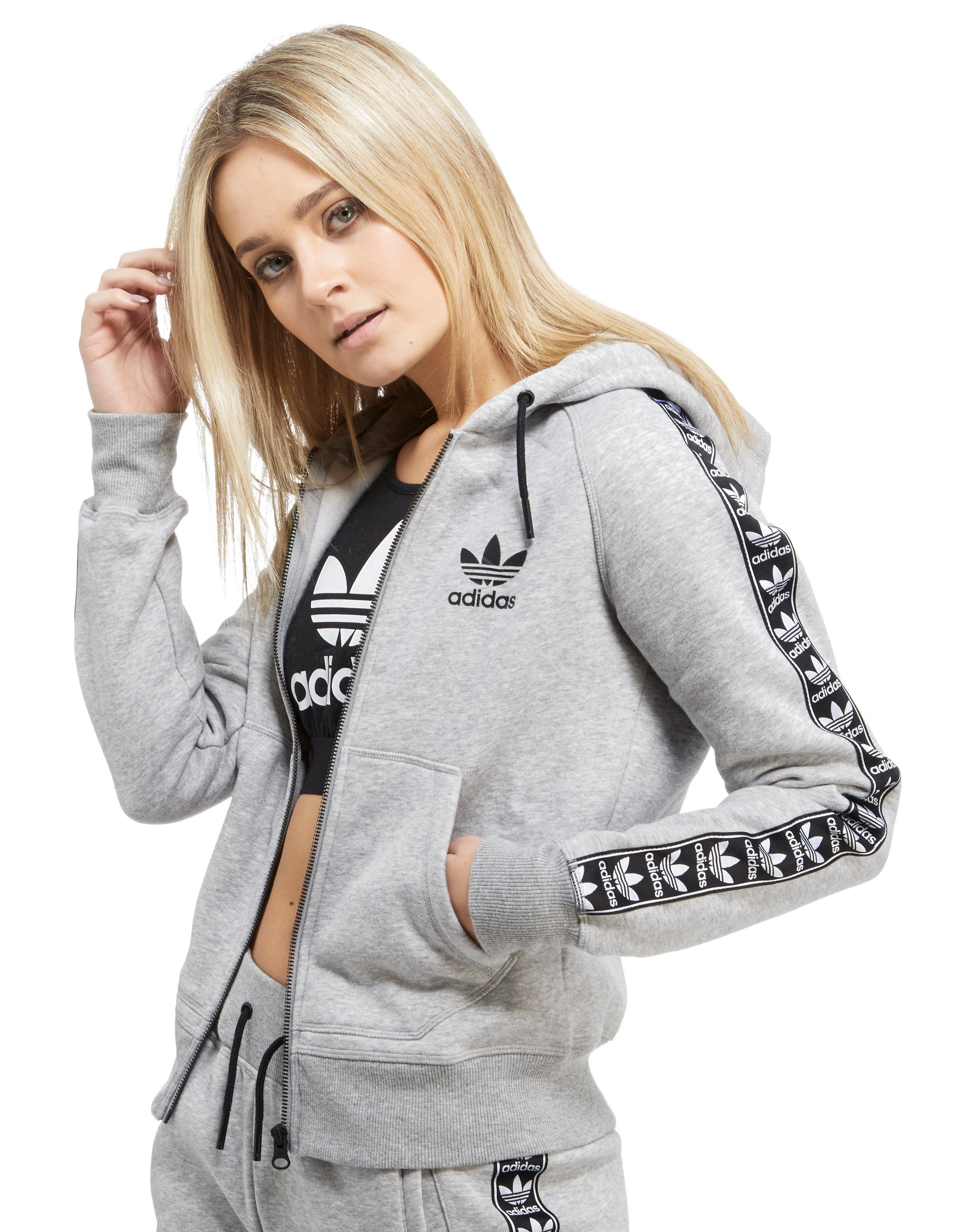 adidas originals tape zipped hoody jd sports. Black Bedroom Furniture Sets. Home Design Ideas