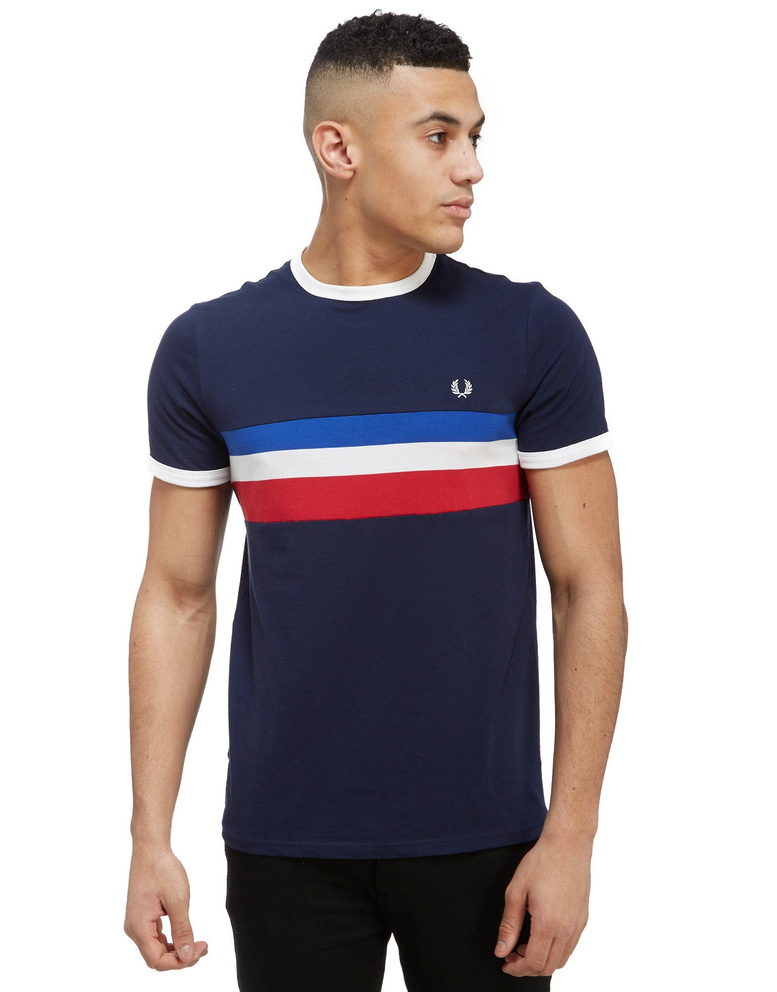Fred Perry Striped Panel T Shirt Jd Sports