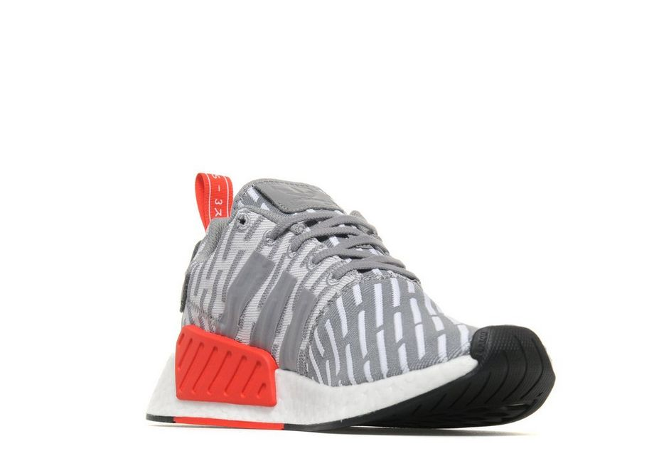 [ADIDAS] NMD R2 White Core Red BA7253 Men's Running Shoes US